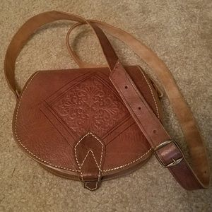 Vintage inspired Leather Crossbody Purse Buckle